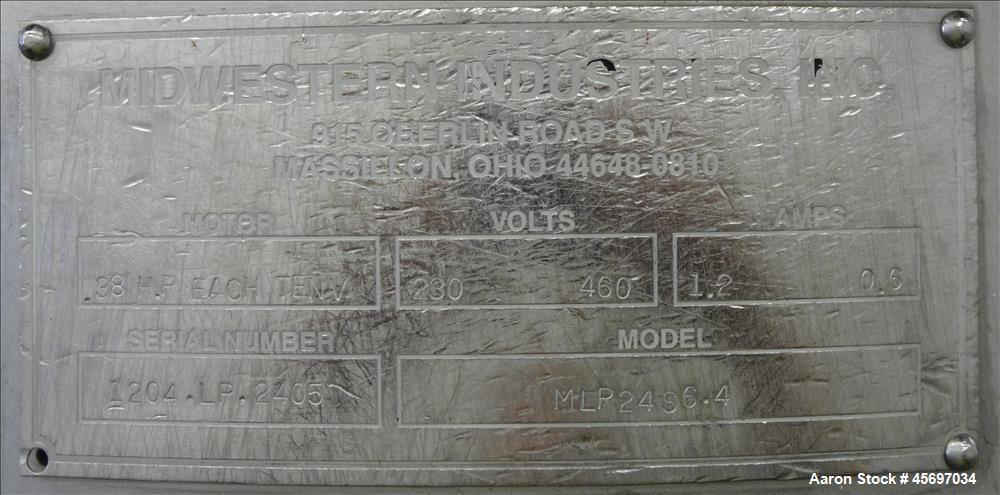 "Used- MidWestern Industries Inc. Sifter MOdel MLP24S6.4, 24"" Diameter, 304 Stainless Steel, Single Deck, 2 Separation. Drive..."
