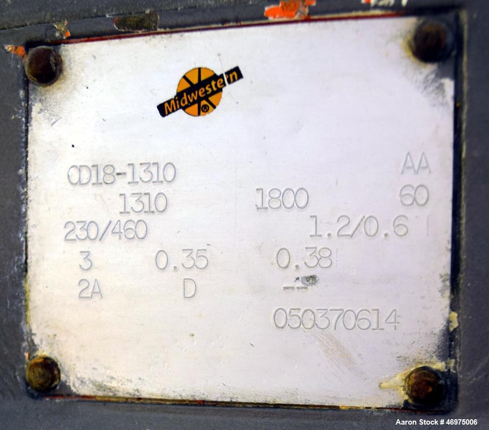 "Used- Midwestern Industries Low Profile Wet Scalping Screener, Model MLP24S6-10, 304 Stainless Steel. Approximate 24"" diamet..."