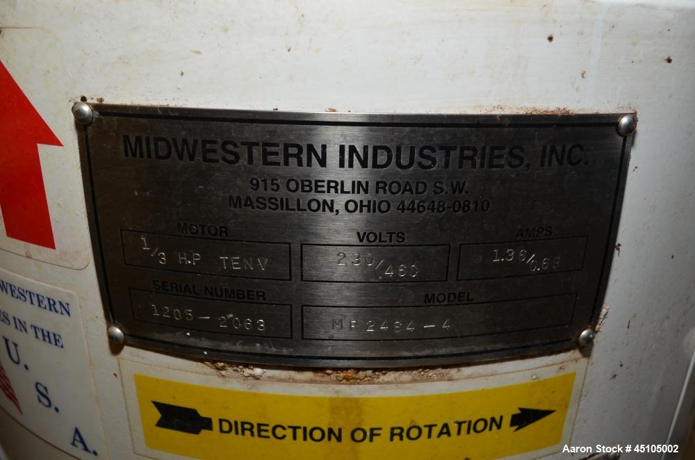 "Used- Midwestern Screener, 24"" Diameter, Model MR24S4-4, Stainless Steel. Single deck, 2 separation, no top cover. Driven by..."