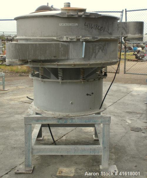 "Used- Midwestern Vibratory Screener, Model MR48S8-8, 304 Stainless Steel. 48"" diameter, single deck, 2 separation. Top cover..."