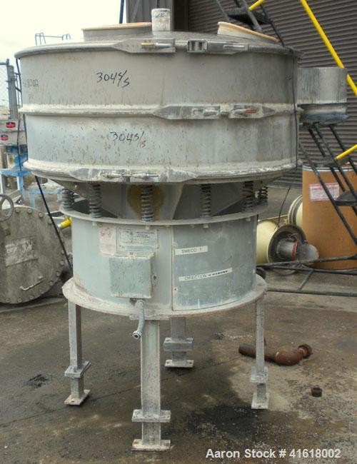 "Used- Midwestern Vibratory Screener, Model MR48S8-8, 304 Stainless Steel. 48"" diameter, single deck, 2 separation. Top cover..."