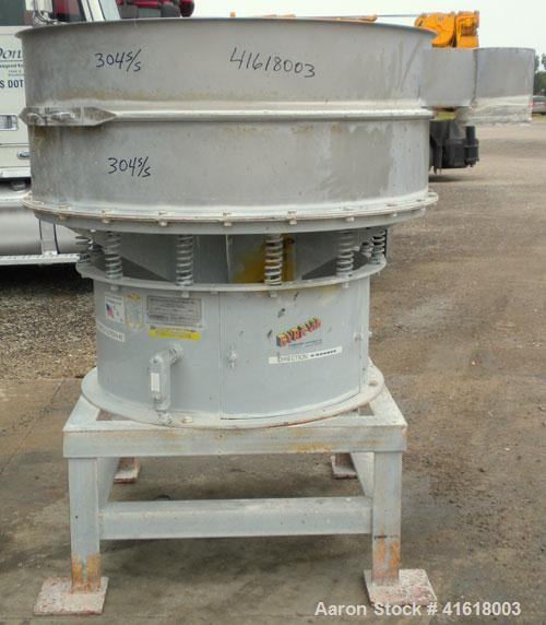 """Used- Midwestern Vibratory Screener, Model MR48S8-8, 304 Stainless Steel. 48"""" diameter, single deck, 2 separation, no top co..."""