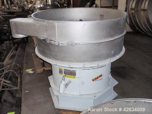 "Used- Midwestern Industries Screener, Model MR48S8-8, Stainless Steel. 48"" Diameter single deck, 2 seperation. Driven by a 2..."