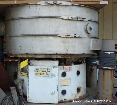 "Used- 60"" Midwestern Stainless 2 Deck Screener Seperator Gyra-Vib Shaker Sifter. 8"" square outlet. 16"" square inlet. 4.5' ov..."