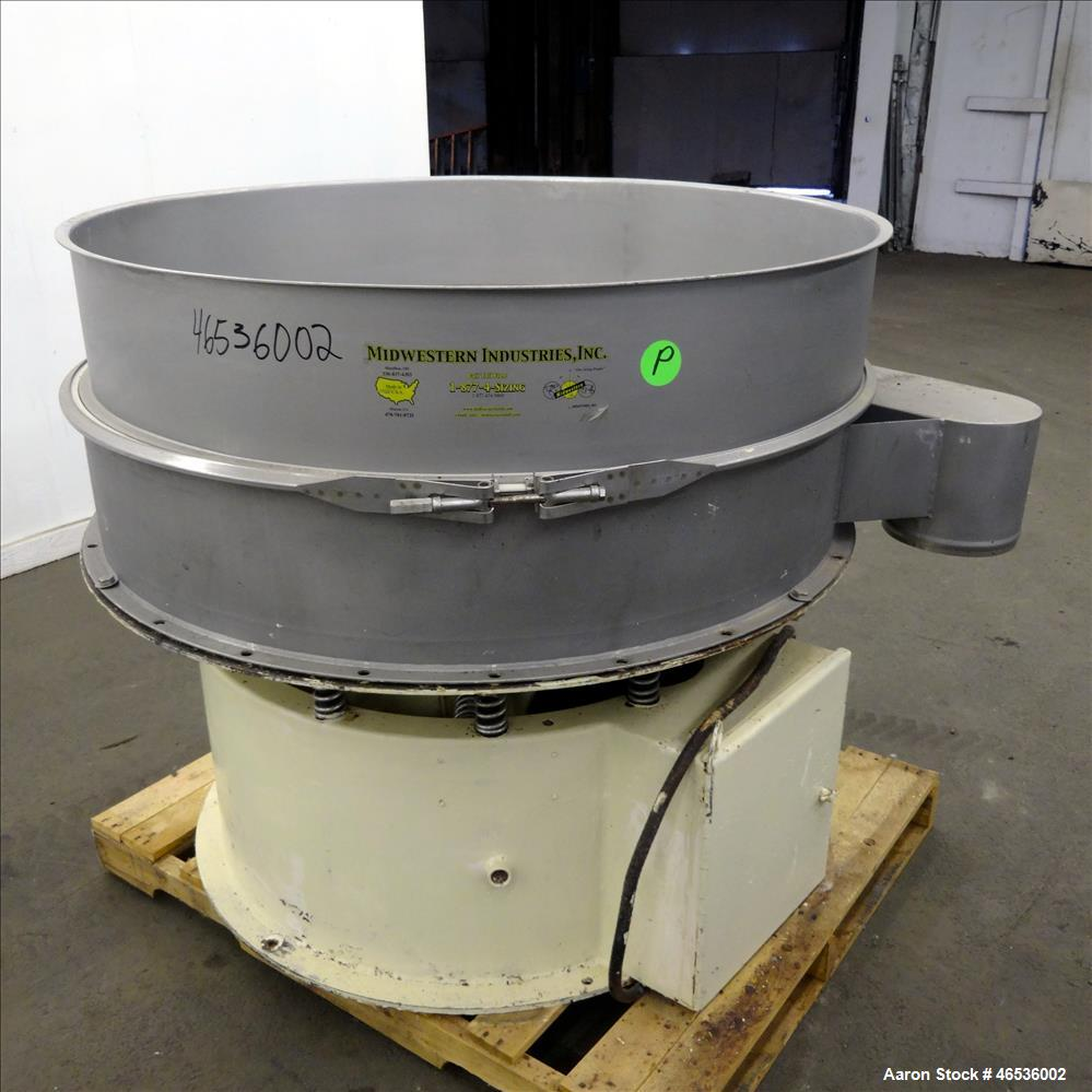 "Used- Midwestern Industries Screener, 48"" Diameter, 304 Stainless Steel. Single deck, 1 separation. No top cover. Driven by ..."