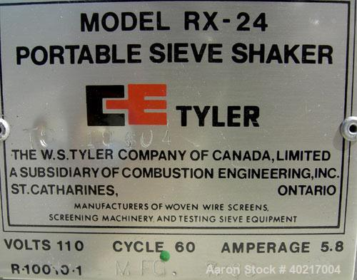 "Used- W.S Tyler sieve shaker, model RX-24. (1) 8"" diameter brass screen, #7 mesh size. (1) 8"" diameter bottom collection pan..."