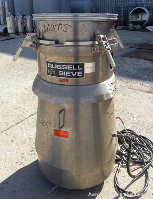 """Used- Russell Finex SIV Sieve, Model 16350, 304 stainless steel. 20"""" Diameter single deck. Effective screen area 2.23 square..."""
