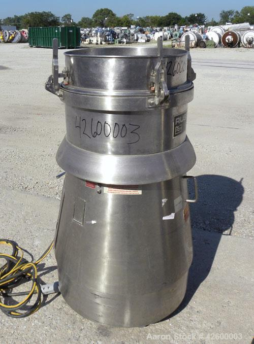 """Used- Russell Finex SIV Sieve, Model 17300, 304 stainless steel. 20"""" Diameter single deck. Effective screen area 2.23 square..."""