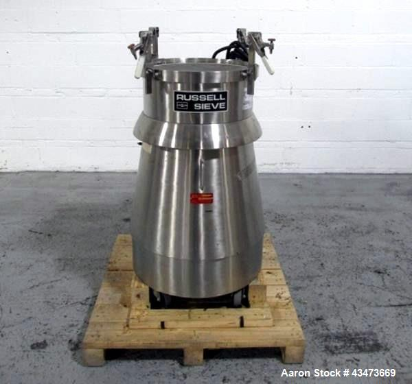 """Used- Russel Sieve, Model 17300. Stainless steel construction, approximately 22"""" diameter screen on stainless steel base, se..."""