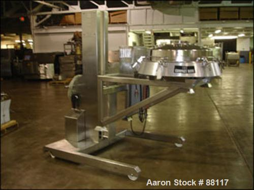 """Used- Russell Finex Sieve, 30"""" Diameter, Model 17900, Stainless Steel. Single deck pass through design with motor. Mounted o..."""