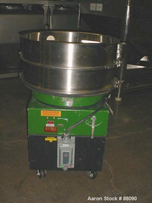 "USED: Russell Finex sieve, model 25070. 30"" diameter, stainless steel, single deck on base."