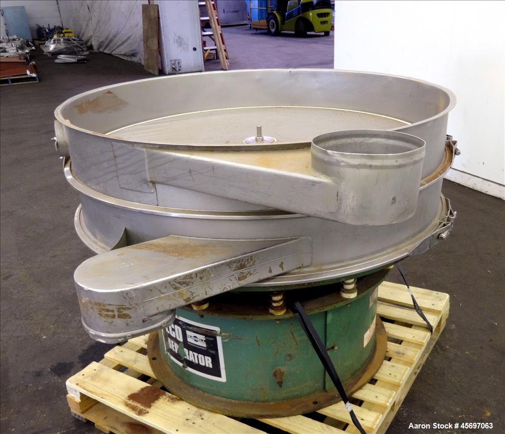 "Used- Russell Circular Screener, Model 30048, 48"" Diameter, 304 Stainless Steel, Single Deck, 2 separation. No Top cover. Se..."