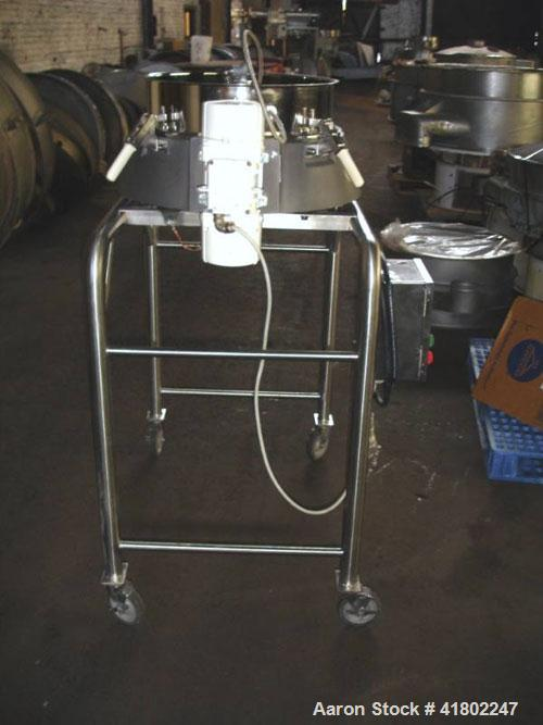 """Used- Russell Finex Compact Sieve, 30"""" Diameter, Stainless Steel. Single deck, 1 separation. Mounted on a stand."""