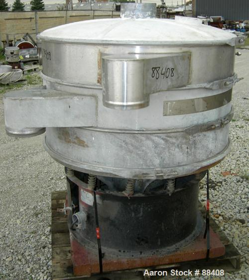 """USED: Southwestern Wire Cloth Screener, 48"""" diameter, 304 stainless steel. Double deck, 3 separation, fiberglass top cover. ..."""