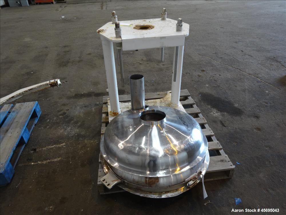 "Used- Sprout Waldron Pedestal Sifter, Model PS34, Stainless Steel. Approximate 32"" diameter single deck, 2 separation. 5 Squ..."
