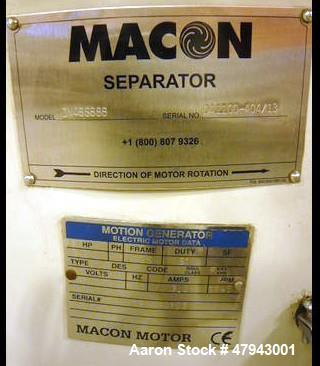 "Used- Macon (Sweco)3 Tier Sifter/Separator. 48"" Screen. Motion generator hp 2.5, PH 3, frame 132S, duty S1, volts 480, H2 60..."