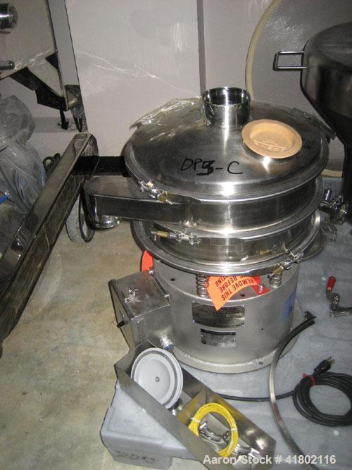 """Used- Sweco Screener, Model LS-18-33WC, Stainless Steel. 18"""" diameter, single deck, 2 separation. Top cover. Driven by a 1/4..."""