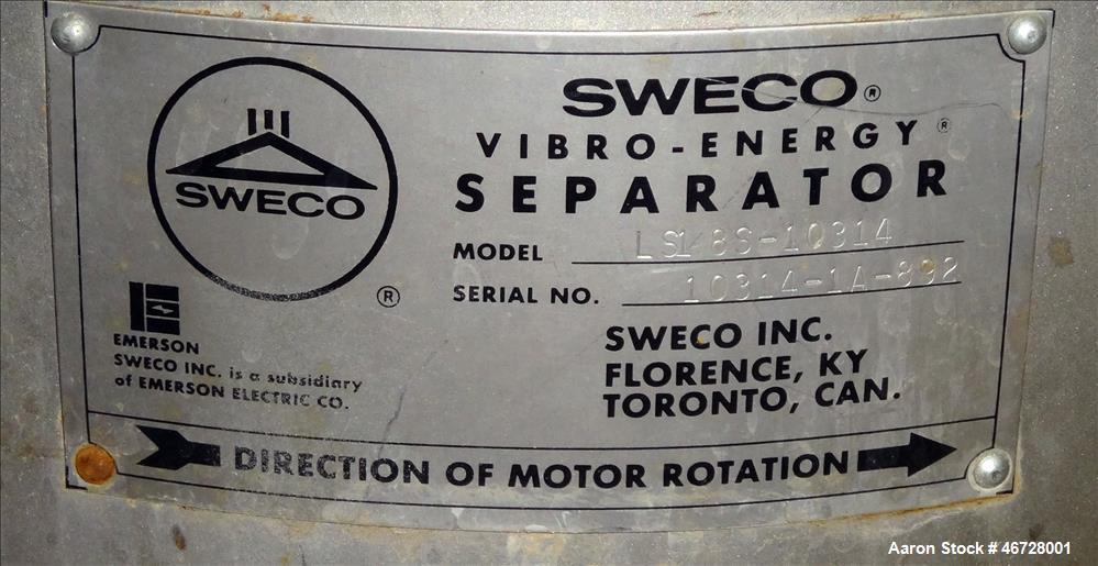 "Used- Sweco Screener, Model LS18S-10314, 304 Stainless Steel, 18"" Diameter"