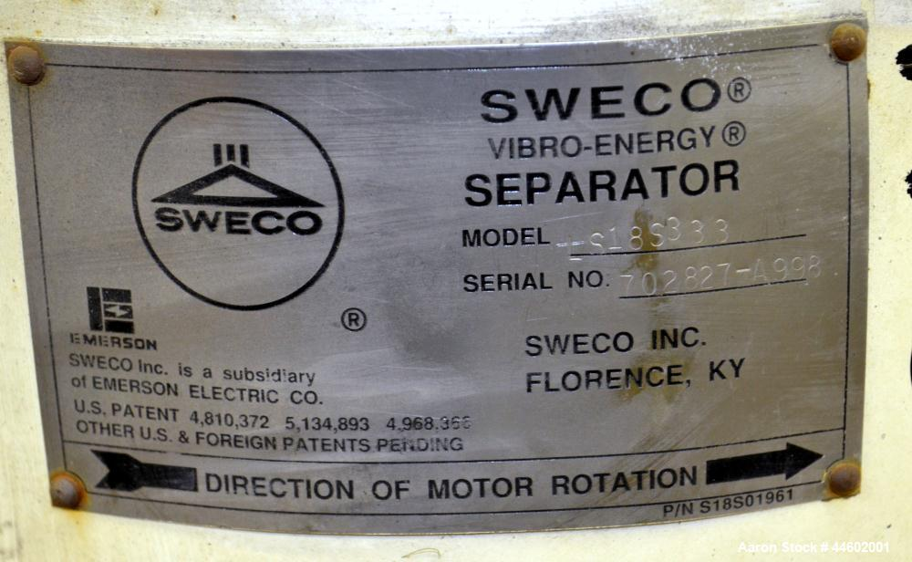 "Used- Sweco Screener, Model LS18S333, 304 Stainless Steel.  18"" Diameter, double deck, 3 separation, with a flat plastic top..."
