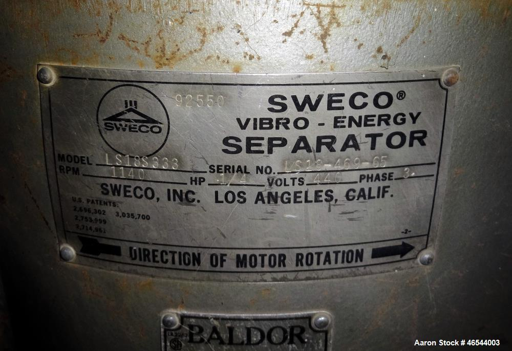 """Used- Sweco Screener, Model LS18S333, 304 Stainless Steel. 18"""" Diameter, single deck, 1 separation, with a top scalping deck..."""