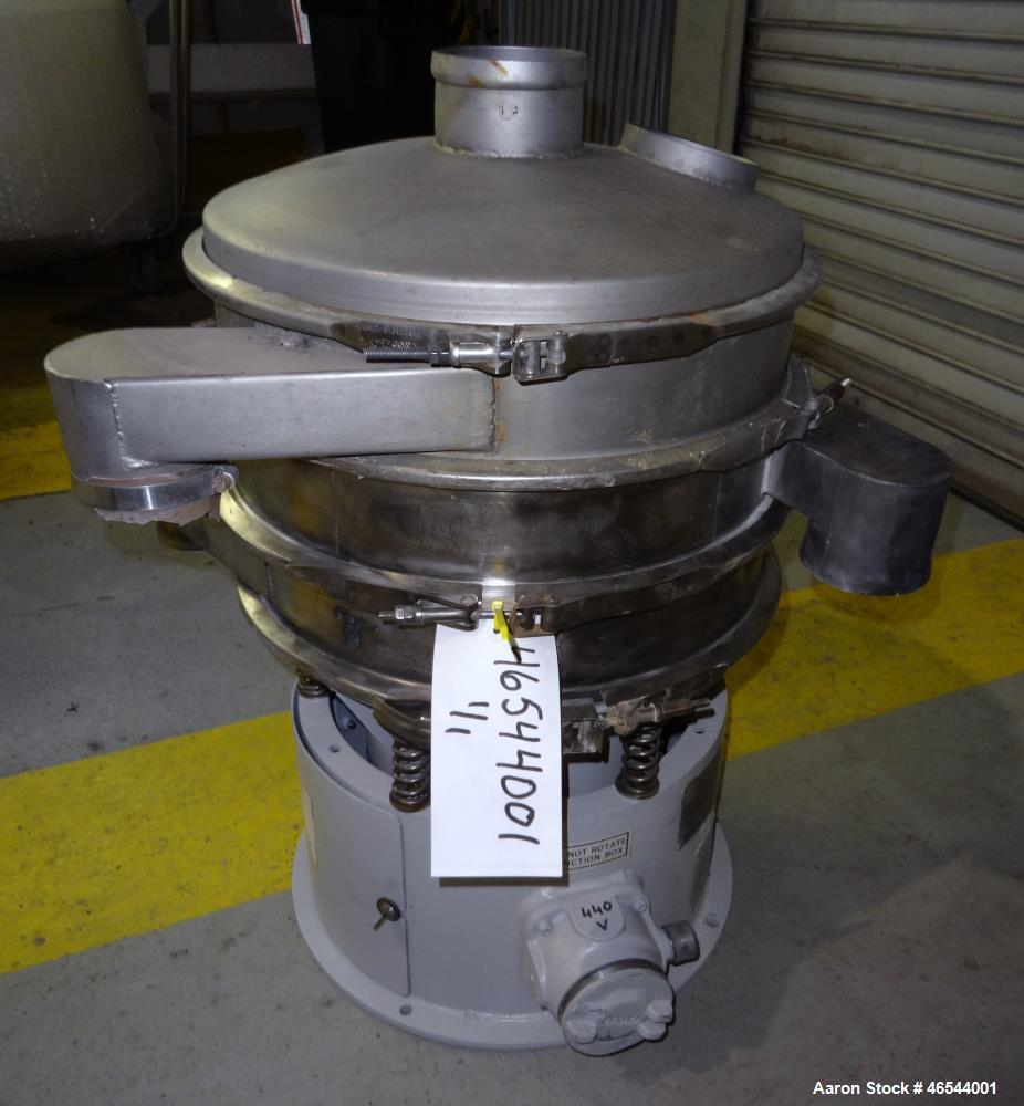 "Used- Sweco Screener, Model LS18S35, 304 Stainless Steel. 18"" Diameter, double deck, 3 separation, with a top cover. Driven ..."
