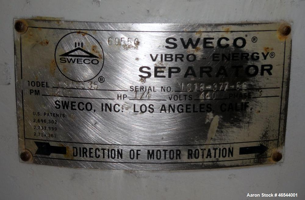 """Used- Sweco Screener, Model LS18S35, 304 Stainless Steel. 18"""" Diameter, double deck, 3 separation, with a top cover. Driven ..."""