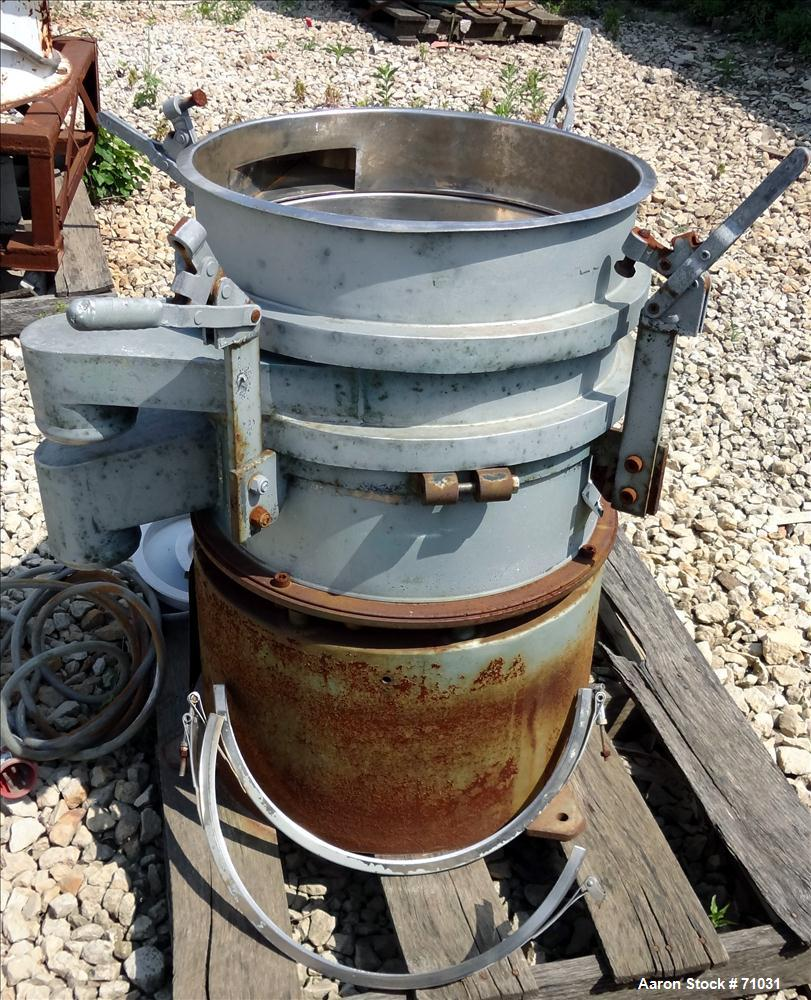 "Used- Sweco Screener, Model LS18S533, Stainless Steel. 18"" Diameter, double deck, 3 separation, no top cover. Driven by an a..."