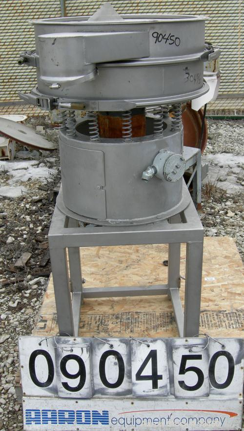 """Used: Sweco screener, model LS24S44, 304 stainless steel. 24"""" diameter, single deck, 2 separation.No top cover. Driven by a ..."""