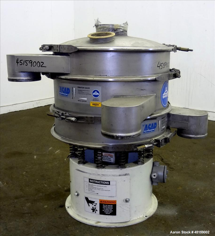 "Used- Sweco Screener, Model LS24S644, 304 Stainless Steel. 24"" Diameter (3) deck, (2) separation with top cover. Driven by a..."