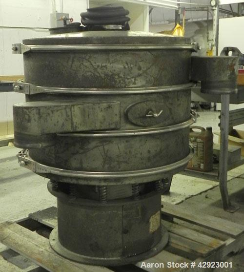 Used- Sweco Screener, Model LS30C666, Carbon Steel. 30'' Diameter, double deck, 3 separation. Includes a top cover. Driven b...