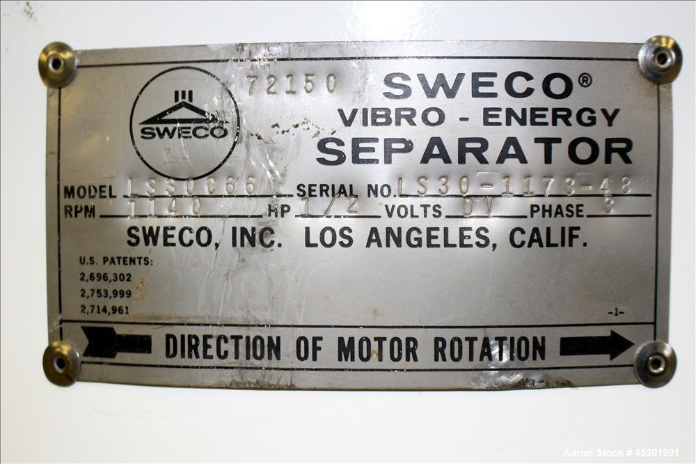 Used- Carbon Steel Sweco Screener, Model LS30C66
