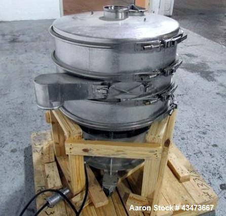 """Used- 30"""" Sweco screen, model LS30S666, stainless steel construction including base, 2 deck with cover, on base with .5 hp, ..."""