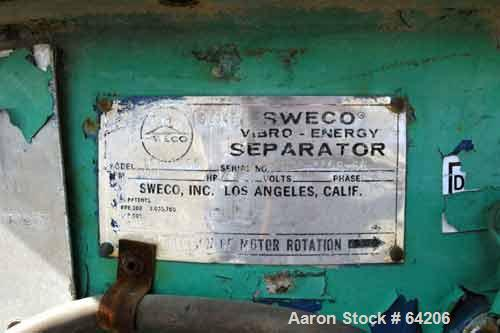 "Used- Sweco Screener, Model LS30S666, Stainless Steel. 30"" Diameter, single deck, 2 separation, (1) stainless steel deck, (1..."