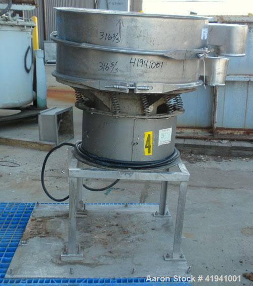 """Used- Sweco Screener, Model LS30S66, 316 Stainless Steel. 30"""" diameter, single deck, 2 separation, no top cover. Driven by a..."""