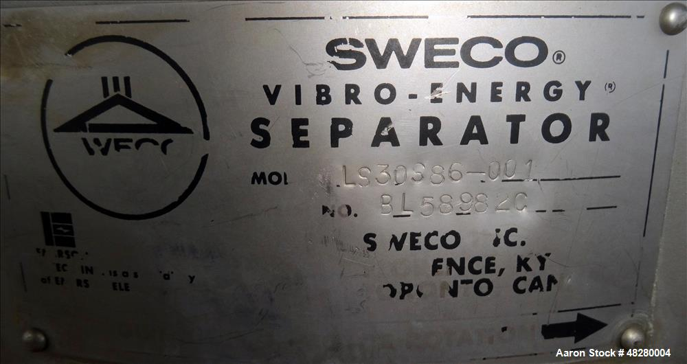 Used- Sweco Screener, Model LS30S86-001, 304 Stainless Steel.