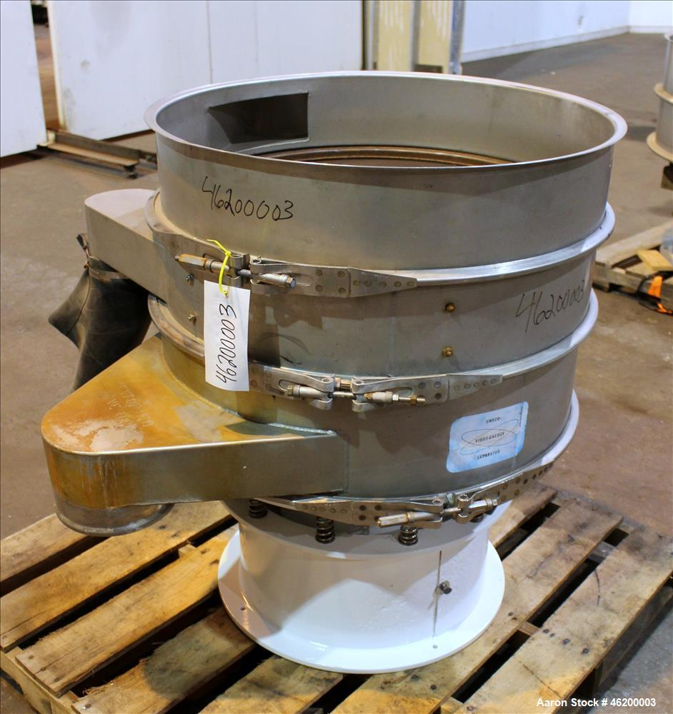 "Used- Sweco Screener, Model LS30S86, 316 Stainless Steel. 30"" Diameter, double deck, 3 separation. No top cover. Driven by a..."