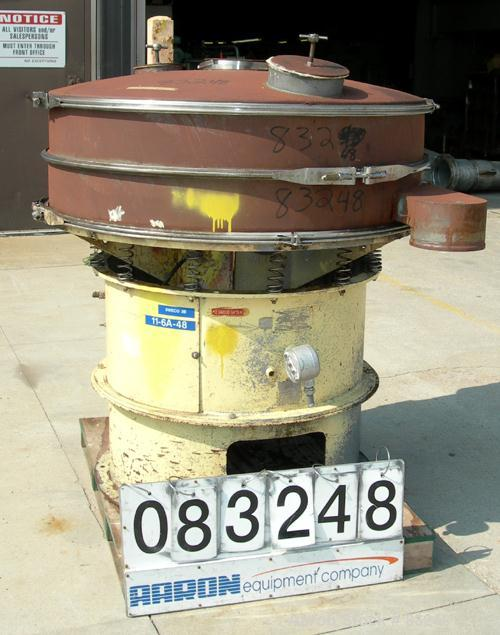 "Used- Sweco Screener, Model LS48C880, Carbon Steel. 48"" Diameter, single deck, 2 separation, includes top cover. Driven by a..."