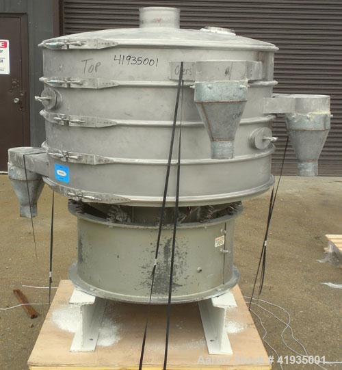 "Used- Sweco Vibro-Energy Separator, Model LS48S6666, 316 Stainless Steel. 48"" diameter, 3 deck, 4 separation. Stainless stee..."