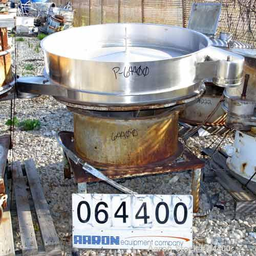 """Used- Sweco Screener, Model LS48S66, Stainless Steel. 48"""" Diameter, single deck, 2 separation, no top cover. Carbon steel ba..."""