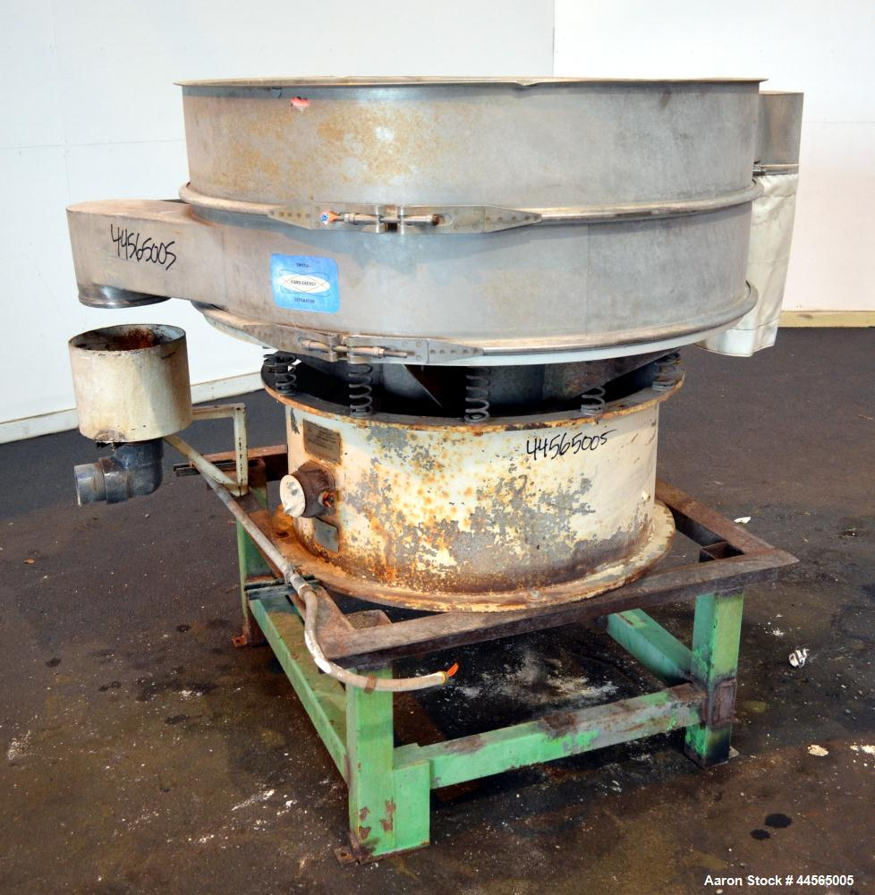 """Used- Sweco Screener, Model LS48S88, 304 Stainless Steel. 48"""" Diameter, single deck, 2 separation, no top cover. Driven by a..."""
