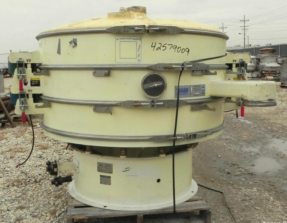 """Used- Sweco Screener, Model XS60C888, Carbon Steel. 60"""" Diameter, double deck, 3 separation. Includes a top cover. Driven by..."""