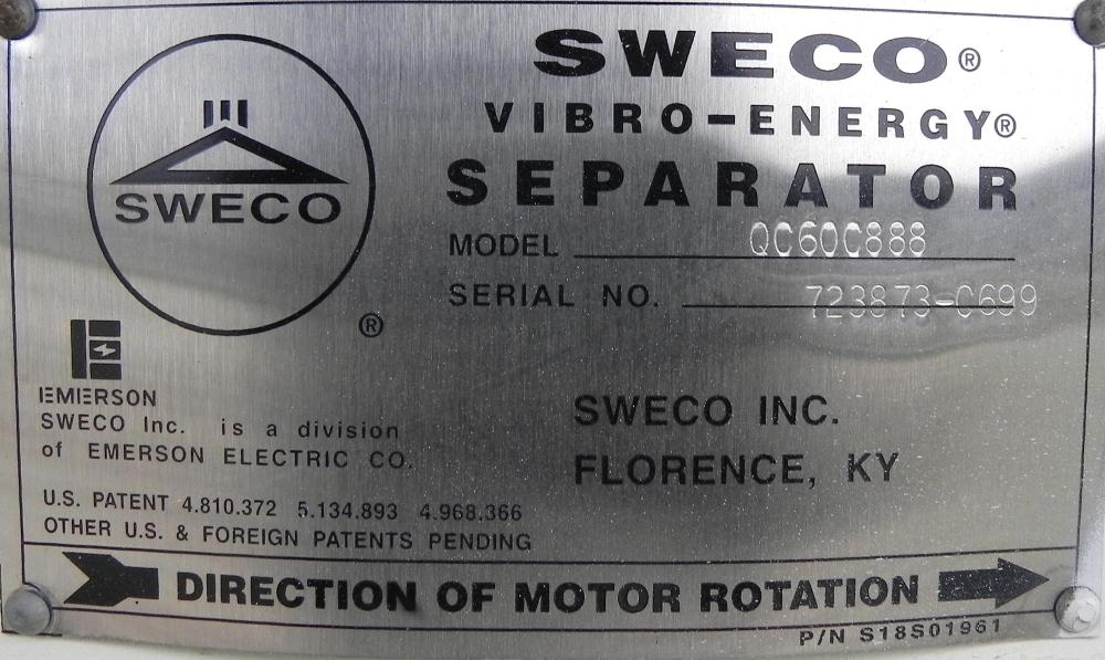 """Used- Sweco Screener, Model QC60C888, Carbon Steel. 60"""" Diameter, double deck, 3 separation. Includes a top cover. Driven by..."""