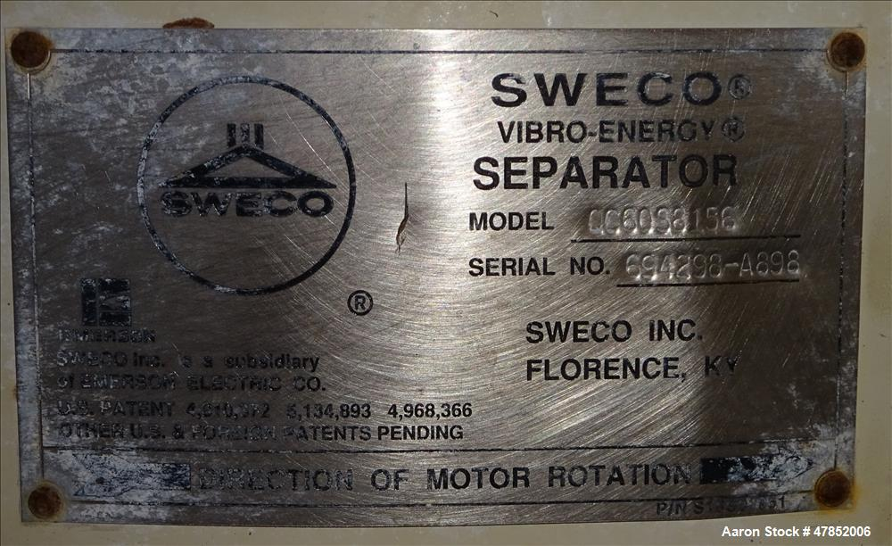 "Used- Sweco 60"" Vibro Energy Separator, Model QC60S8156, 304 Stainless Steel."
