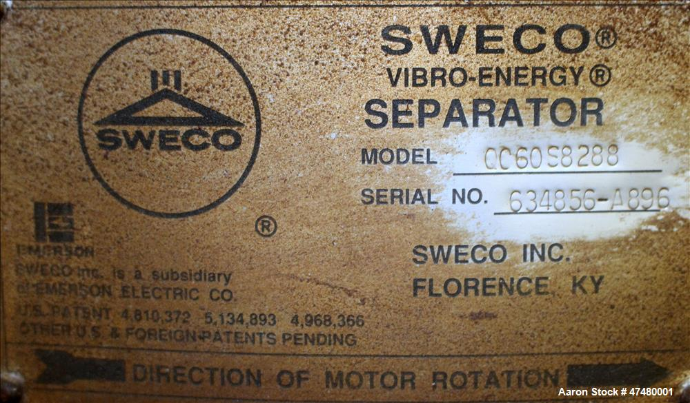 Used- Sweco Screener, Model QC60S8288, 304 Stainless Steel.