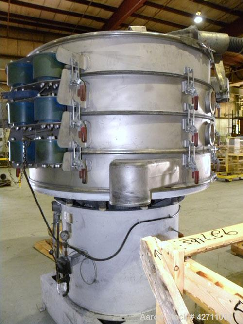"Used- Sweco Quick Change Screener, Model QC60S888, 304 Stainless Steel. 60"" Diameter, triple deck, 4 separation. Includes a ..."