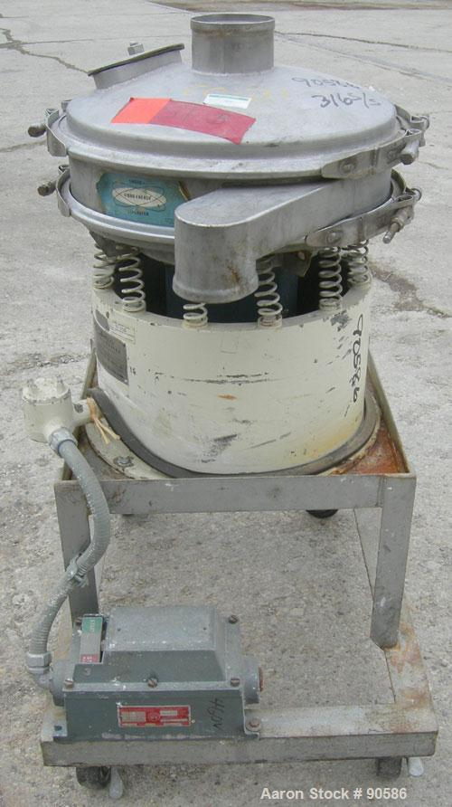 "Used- Sweco Screener, Model S18S3333, 316 Stainless Steel.  18"" Diameter, bottom deck only.  Driven by a 1/4 hp, 3/60/220 vo..."