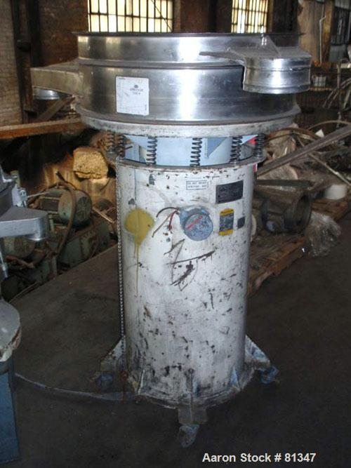 """Used- Sweco Screener, 30"""" Diameter, Model S30D81400, Stainless Steel. Single deck, no top cover. Driven by a 1/2hp, 3/60/575..."""