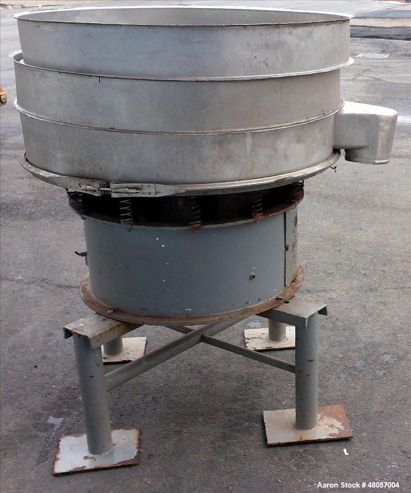 """Used- Sweco Screener, Model S48C8666, Stainless Steel. 48"""" Diameter. No screens. Driven by an approximate 2.5hp motor. (2) R..."""