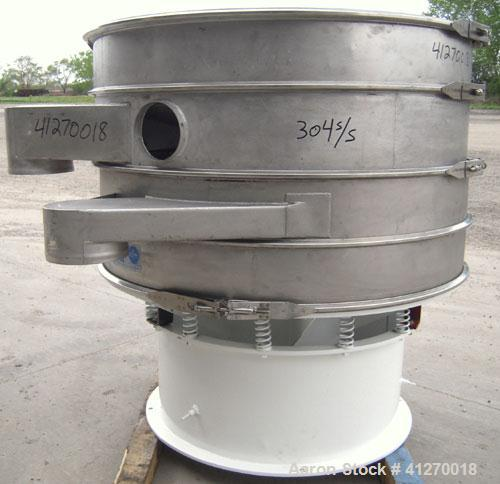 """Used- Sweco Screener, Model S48C886,304 stainless steel.48"""" diameter,triple deck,4 separation.Plastic top cover. Driven..."""