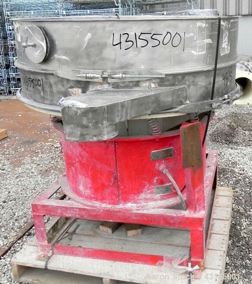 """Used- Sweco Screener, Model S48S66, Stainless Steel. 48"""" Diameter single deck, 2 separation. No top cover, or screen. Driven..."""